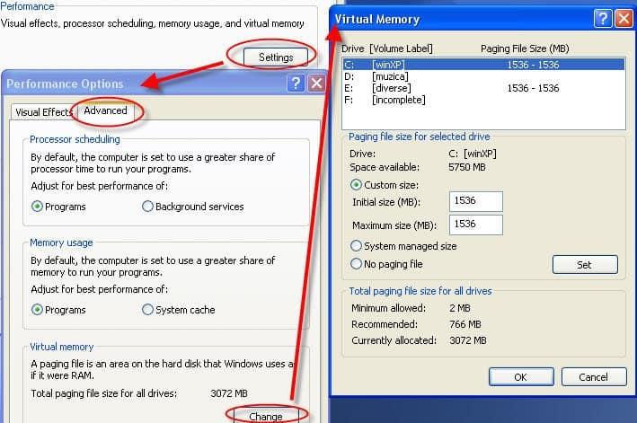 low virtual memory