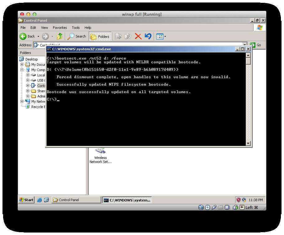 install windows xp to usb